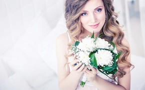 Picture look, girl, flowers, bouquet, hairstyle, the bride, curls