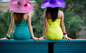 Wallpaper bench, girls, bracelets, bright colors, hats, dresses