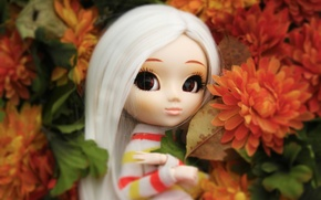 Picture flowers, doll, big eyes
