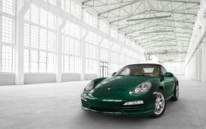 Picture green, the building, porsche, Porsche, Boxster