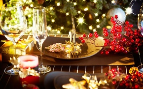 Picture winter, berries, table, star, candles, devices, New Year, glasses, Christmas, gifts, plates, dishes, red, Christmas, …