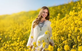 Picture girl, field, summer, smile, face, dress