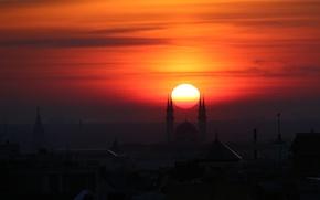 Picture Sunset, The sun, Kazan, minarets, Kul-Sharif