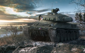 Wallpaper snow, river, shore, tank, twilight, average, World of Tanks, Skoda, TVP T 50/51, Czechoslovakia