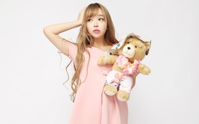 Picture girl, model, toy, bear