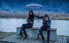Picture girl, rain, umbrella, guy, is love