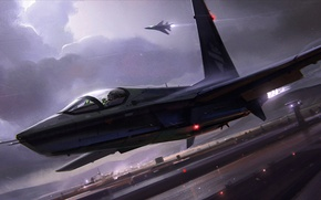 Picture the storm, clouds, night, lights, the plane, strip, fighter, the airfield, the rise