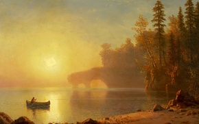 Picture landscape, picture, Albert Bierstadt, Canoes Of Indians