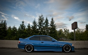 Picture BMW, BMW, profile, blue, blue, tuning, E36