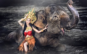 Picture water, girl, style, elephant, outfit, Asian