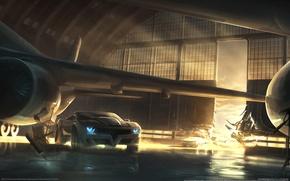 Picture auto, the plane, hangar, Race, Split/Second