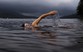 Picture water, man, hand, guy, male, stop motion, Lake Dunmore, swimmer