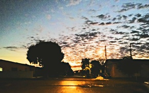 Picture day, clouds, eventide, city, the, end, trees, streets, sunlight