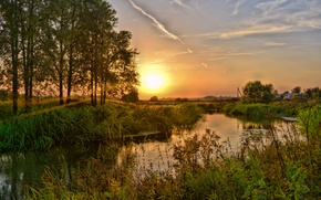 Picture autumn, the sky, the sun, trees, sunset, river, Vasil Anders