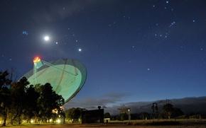 Picture The moon, Australia, Jupiter, Venus, radio telescope, The Pleiades, Aldebaran, Betelgeuse