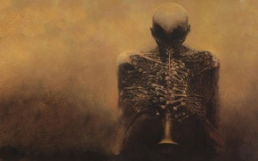 Picture the darkness, bones, skeleton, fingers, Zdzislaw beksinski, Dudka