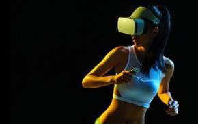 Wallpaper girl, Mike, figure, brunette, glasses, hairstyle, white, black background, Mi VR Headset