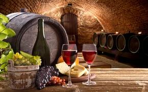 Wallpaper table, wine, bottle, cheese, glasses, grapes, cellar, barrels, the basement