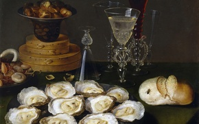 Picture fly, glass, food, picture, bread, Still life with Oysters, Osias Burt Senior