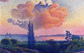 Picture tree, ship, picture, Landscape, Henri Edmond Cross