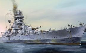 Picture ship, art, Navy, military, cruiser, cruiser, German, WW2, Navy, Prinz Eugen