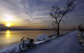 Picture road, landscape, sunset, bike, river