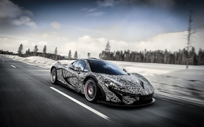 Picture road, the sky, snow, speed, hypercar, Mclaren P1