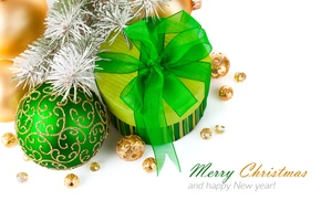 Wallpaper frost, ball, green, bow, Happy New Year, tree, on the branch, Gift, with ornament