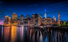 Picture the city, lights, river, building, New York, skyscrapers, the evening, support, USA, Lower Manhattan, East …