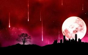 Wallpaper the moon, Vector, the city