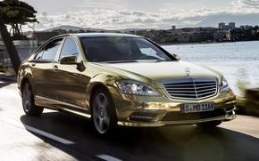 Wallpaper the sky, Mercedes-Benz, Mercedes, gold, sedan, the front, spec.version, S-Class, Festival de Cannes
