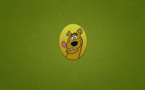 Wallpaper dog, minimalism, oval, Scooby-Doo, Scooby-Doo, funny face, greenish background