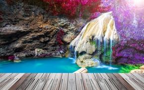 Picture bridge, rock, waterfall, HDR, Thailand, Thailand, waterfall, crag
