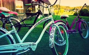 Picture style, color, bikes, summer.