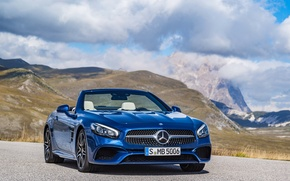 Picture Mercedes-Benz, mountains, SL-Class, convertible, Mercedes, the sky, R231, blue, clouds