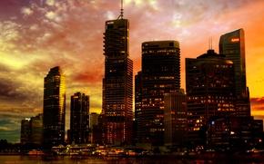 Picture sunset, the city, lights, river, neon, wallpaper, promenade, skyscrapers, city lights, skyscraper, Australia, Methevas, Australia, …