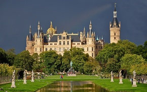 Picture pond, Park, Germany, Germany, sculpture, Schwerin castle, Schwerin Castle