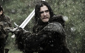 Picture sword, ghost, fight, ken, north, wolf, A Song of Ice and Fire, Game of Thrones, …