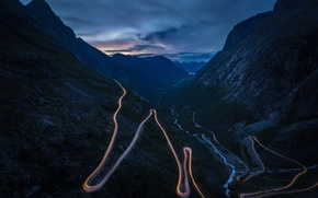Picture road, light, mountains, night, excerpt, gorge, serpentine