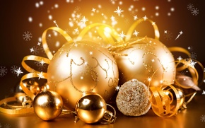 Picture winter, balls, decoration, balls, toys, New Year, Christmas, the scenery, Christmas, gold, holidays, New Year, …