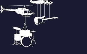 Picture guitar, helicopters, instrumento, drums, music