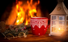 Picture decoration, New Year, Christmas, fire, fireplace, Christmas, cup, Xmas, decoration
