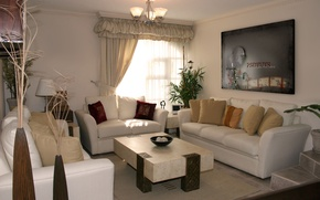 Wallpaper room, picture, interior, chandelier, window, curtains, sofas, comfort, stolic, design