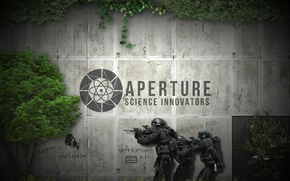 Picture labels, weapons, thickets, the portal, soldiers, security, Portal, soldier, weapon, portal 2, aperture, security, GLaDoS