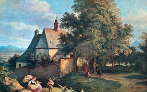 Picture trees, landscape, children, people, picture, geese, genre, Adrian Ludwig Richter, parishioners, The Church of St. …