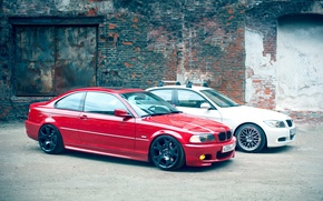Picture BMW, white, red, e90, e46