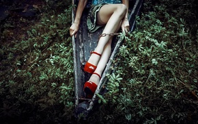 Picture boat, stockings, chain, shoes, legs