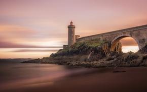 Picture ocean, France, lighthouse, Brittany, Phare du petit minou, Plouzane