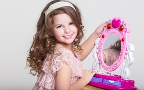 Picture smile, child, makeup, mirror, girl, girls, child, Little, mirror