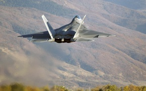 Wallpaper Fifth, Photo, Lockheed/Boeing, Flight, Mountains, Multipurpose, Trees, The rise, Generation, Hills, Fighter, F-22, Raptor